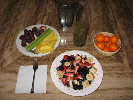 Raw food diet day 1 breakfast
